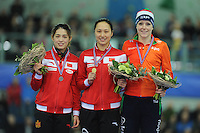 SPEED SKATING: STAVANGER: Sørmarka Arena, 29-01-2016, ISU World Cup, Podium 500m Ladies Division A, Jing Yu (CHN), Hong Zhang (CHN), Jorien ter Mors (NED), ©photo Martin de Jong