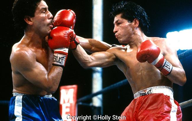 SAN JUAN - AUGUST 18:  Wilfredo Gomez v. Roberto Rubaldino.  Gomez W TKO8.  WBC Super Bantamweight title.