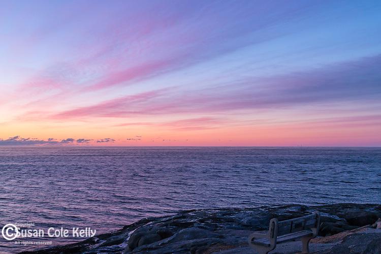 A cold winter sunrise at Nubble Light, York, Maine, USA