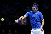 Roger Federer in action against Alexander Zverev in their Semi finals match <br /> <br /> Photographer Hannah Fountain/CameraSport<br /> <br /> International Tennis - Nitto ATP World Tour Finals Day 7 - O2 Arena - London - Saturday 17th November 2018<br /> <br /> World Copyright &copy; 2018 CameraSport. All rights reserved. 43 Linden Ave. Countesthorpe. Leicester. England. LE8 5PG - Tel: +44 (0) 116 277 4147 - admin@camerasport.com - www.camerasport.com
