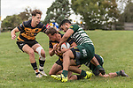 Jordan Goldsmith gets taken to ground by Timothy Tuefu and Pisi Leilua. Counties Manukau Premier Counties Power Club Rugby Round 4 game between Bombay and Manurewa, played at Bombay on Saturday March 31st 2018. <br /> Manurewa won the game 25 - 17 after trailing 15 - 17 at halftime.<br /> Bombay 17 - Ki Anufe, Chay Macwood tries, Tim Cossens, Ki Anufe conversions,  Ki Anufe penalty. <br /> Manurewa Kidd Contracting 25 - Peter White 2 , Willie Tuala 2 tries, James Faiva conversion,  James Faiva penalty.<br /> Photo by Richard Spranger.