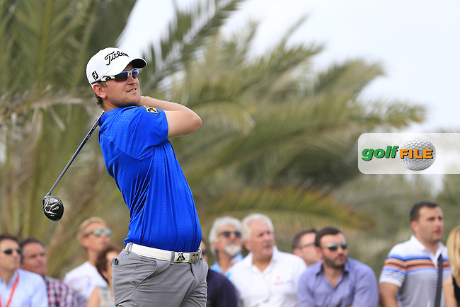 Bernd Wiesberger (AUT) tees off the 14th tee during Sunday's Final Round of the Abu Dhabi HSBC Golf Championship 2015 held at the Abu Dhabi Golf Course, United Arab Emirates. 18th January 2015.<br /> Picture: Eoin Clarke www.golffile.ie
