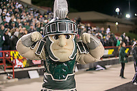 College Park, MD - October 22, 2016: Michigan State Spartans mascot flex his muscles during game between Michigan St. and Maryland at  Capital One Field at Maryland Stadium in College Park, MD.  (Photo by Elliott Brown/Media Images International)