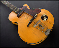 BNPS.co.uk (01202 558833)<br /> Pic: Juliens/BNPS<br /> <br /> George Harrison's first electric guitar has emerged for sale for &pound;220,000.<br /> <br /> The legendary Beatle acquired his beloved Hofner Club 40 model in the summer of 1959 as a callow 16 year old after trading it for another guitar.<br /> <br /> He kept hold of the guitar for seven years as the band went from playing youth clubs to stadiums.<br /> <br /> Harrison was very fond of the instrument, describing it as 'the most fantastic guitar ever', but was persuaded by manager Brian Epstein to give it away to promote their 1966 Germany tour.<br /> <br /> His guitar was offered as the star prize for the winners of 'The Best Beat Band in Germany' organised by German music venue Star Club where the band had played in the early 60's.