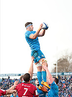 12th January 2020; RDS Arena, Dublin, Leinster, Ireland; Heineken Champions Champions Cup Rugby, Leinster versus Lyon Olympique Universitaire; Caelan Doris (Leinster) gathers the lineout ball - Editorial Use