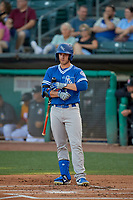 Jon Kemmer (18) of the Oklahoma City Dodgers at bat against the Salt Lake Bees at Smith's Ballpark on August 1, 2019 in Salt Lake City, Utah. The Bees defeated the Dodgers 14-4. (Stephen Smith/Four Seam Images)