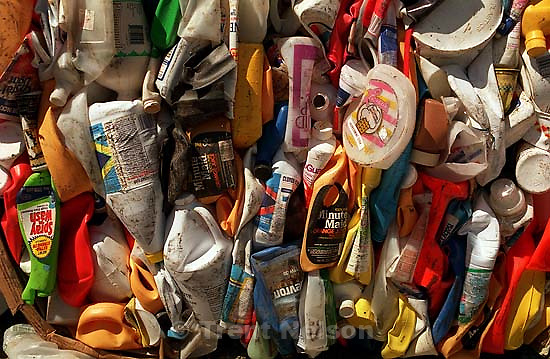 Plastic containers to be recycled.<br />