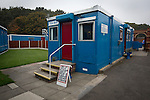An exterior view of the refreshment hut at the Harry Williams Riverside Stadium, home to Ramsbottom United before they played Barwell in a Northern Premier League premier division match. This was the club's 13th league game of the season and they were still to record their first victory following a 3-1 defeat, watched by a crowd of 176. Rams bottom United were formed by Harry Williams, the current chairman, in 1966 and progressed from local amateur football  in Bury to the semi-professional leagues.