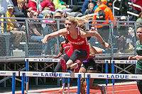Kirkwood senior Andrea Kuehnlein won the 100 hurdles in 15.70 and the 300 hurdles in 46.27 at the 2016 MSHSAA Class 5 District 2 Track and Field Meet at Ladue High School, St. Louis, Saturday, May 14.