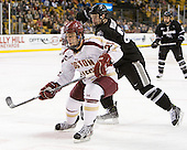 Steven Whitney (BC - 21), Alex Velischek (PC - 27) - The Boston College Eagles defeated the Providence College Friars 4-2 in their Hockey East semi-final on Friday, March 16, 2012, at TD Garden in Boston, Massachusetts.