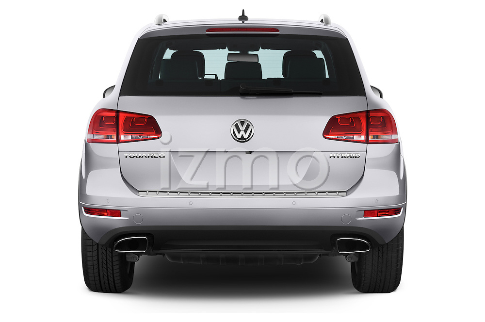 Straight rear view of a 2014 Volkswagen Touareg Hybrid 5 Door SUV 2WD Rear View  stock images