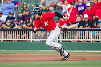 Adam Engel (23) of the Kannapolis Intimidators takes off for second base against the Hickory Crawdads at CMC-Northeast Stadium on May 17, 2014 in Kannapolis, North Carolina.  The Crawdads defeated the Intimidators 4-1.  (Brian Westerholt/Four Seam Images)
