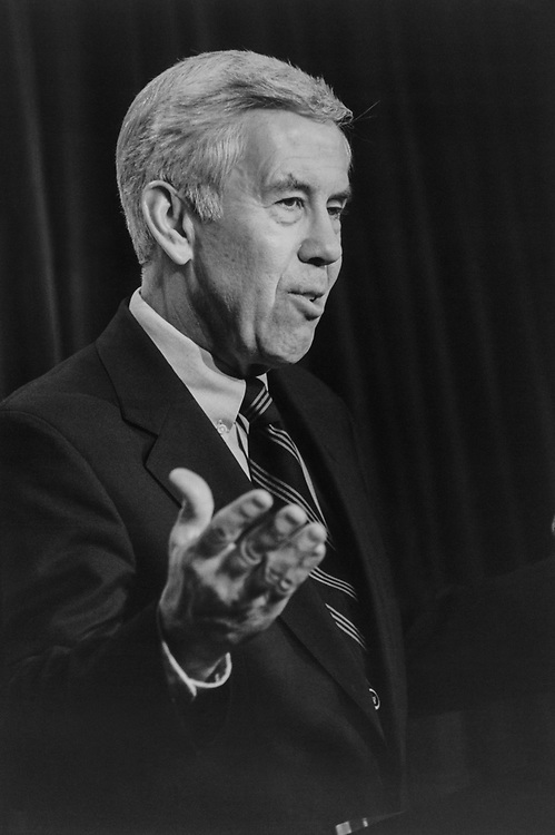 Sen. Richard Lugar, R-Ind., at a press conference discussing his decision to remain in Presidential race, in February 1996. (Photo by Maureen Keating/CQ Roll Call via Getty Images)