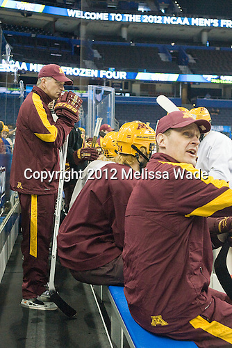 Don Lucia (Minnesota - Head Coach), Mike Guentzel (Minnesota - Associate Head Coach) - The University of Minnesota Golden Gophers practiced on Wednesday, April 4, 2012, during the 2012 Frozen Four at the Tampa Bay Times Forum in Tampa, Florida.
