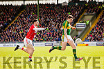 David Moran Kerry in action against Luke Connolly Cork in the National Football league in Austin Stack Park, Tralee on Sunday.
