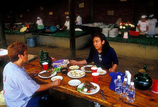 Dining at La Capilla Restaurant, Zaachila, Oaxaca State, Mexico