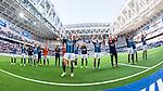 Stockholm 2014-04-27 Fotboll Allsvenskan Djurg&aring;rdens IF - IF Brommapojkarna :  <br /> Djurg&aring;rdens Emil Bergstr&ouml;m med lagkamrater jublar framf&ouml;r Djurg&aring;rdens publik efter matchen<br /> (Foto: Kenta J&ouml;nsson) Nyckelord:  Djurg&aring;rden DIF Tele2 Arena Brommapojkarna BP jubel gl&auml;dje lycka glad happy inomhus interi&ouml;r interior
