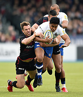 Ben Tapuai of Bath Rugby takes on the Saracens defence. Aviva Premiership match, between Saracens and Bath Rugby on April 15, 2018 at Allianz Park in London, England. Photo by: Patrick Khachfe / Onside Images