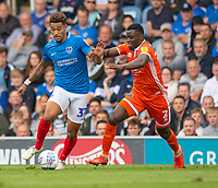 Portsmouth's Andre Green (left) under pressure from Shrewsbury Town's Josh Emmanuel (right) <br /> <br /> Photographer David Horton/CameraSport<br /> <br /> The EFL Sky Bet League One - Portsmouth v Shrewsbury Town - Saturday September 8th 2018 - Fratton Park - Portsmouth<br /> <br /> World Copyright &copy; 2018 CameraSport. All rights reserved. 43 Linden Ave. Countesthorpe. Leicester. England. LE8 5PG - Tel: +44 (0) 116 277 4147 - admin@camerasport.com - www.camerasport.com