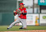 24 February 2019: Washington Nationals top prospect infielder Luis Garcia gets the third out in the 8th inning of a Spring Training game against the St. Louis Cardinals at Roger Dean Stadium in Jupiter, Florida. The Nationals defeated the Cardinals 12-2 in Grapefruit League play. Mandatory Credit: Ed Wolfstein Photo *** RAW (NEF) Image File Available ***