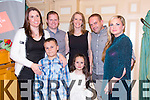 Sam Puntin, Ava Rose Puntin, Caroline Puntin, Barry O'Mahony, Geraldine McCarthy, Anthony McCarthy, Sharon Heffernan from Listowel enjoying  the Community Games Awards Dinner at the River Island Hotel Castleisland on Friday