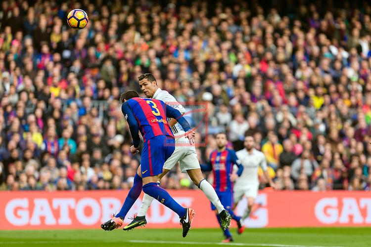 League Santander 2016/2017. Game: 14.<br /> FC Barcelona vs Real Madrid: 1-1.<br /> Gerard Pique vs Cristiano Ronaldo.
