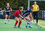 AMSTELVEEN  -  Frances Westenberg (Pin) met Klaartje de Bruijn (Lar) , hoofdklasse hockeywedstrijd dames Pinole-Laren (1-3). COPYRIGHT  KOEN SUYK