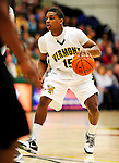 30 January 2010: University of Vermont Catamount guard Simeon Marsalis, a Freshman from New Rochelle, NY, in action against the University at Albany Great Danes at Patrick Gymnasium in Burlington, Vermont. The Catamounts defeated the Danes 64-46 in the America East matchup. Mandatory Credit: Ed Wolfstein Photo