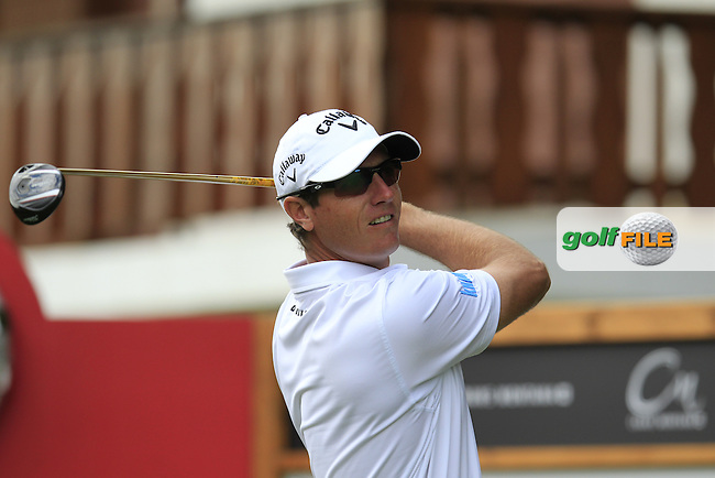 Nicolas COLSAERTS (BEL) tees off the 2nd tee during Thursday's Round 1 of the 2014 Omega European Masters held at the Crans Montana Golf Club, Crans-sur-Sierre, Switzerland.: Picture Eoin Clarke, www.golffile.ie: 4th September 2014