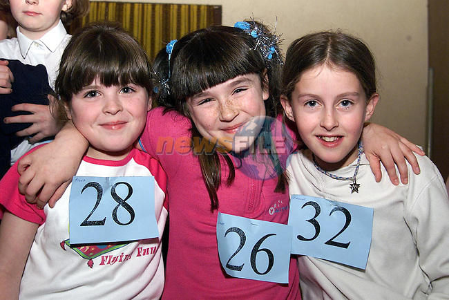 Fiona McBride, Termonfeckin, Laura Farrell,Drogheda and Caroline Mcbride, termonfeckin pictured at the irish dancing feis at sandpit hall.
