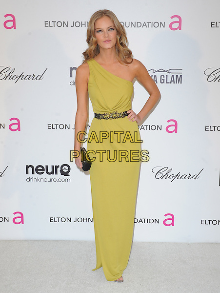 Jessica Perez.The 21st Annual Elton John AIDS Foundation Academy Awards Viewing Party held at The City of West Hollywood Park in West Hollywood, California, USA..February 24th, 2013.oscars full length yellow green one shoulder dress belt hand on hip.CAP/DVS.©DVS/Capital Pictures.
