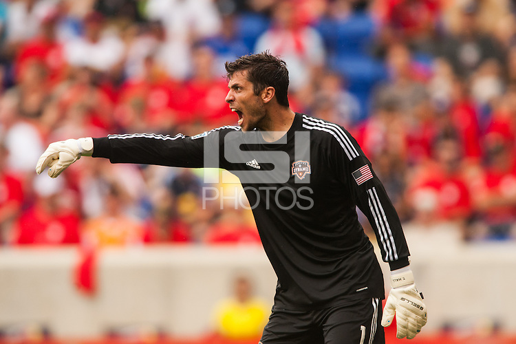 Houston Dynamo goalkeeper Tally Hall (1). The New York Red Bulls defeated the Houston Dynamo 2-0 during a Major League Soccer (MLS) match at Red Bull Arena in Harrison, NJ, on June 30, 2013.