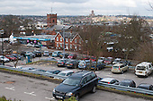 Town centre car park, Guildford, Surrey.  The cathedral on the horizon.