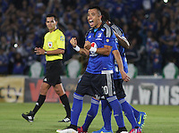 BOGOTA -COLOMBIA, 21-FEBRERO-2015. Fernando Uribe jugador de Millonarios celebra un gol anotado a Cortulua  durante partido por la fecha 5 de la Liga Águila I 2015 jugado en el estadio Nemesio Camacho El Campin  de la ciudad de Bogotá./ xxx  player of Millonarios celebrates a goal scored to Cortulua  during match for the fifth date of the Aguila League I 2015 played at Nemesio Camacho El Campin stadium in Bogotá city<br />  . Photo / VizzorImage / Felipe Caicedo  / Staff