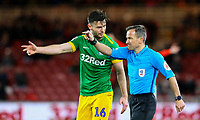 Preston North End's Andrew Hughes has a word with referee Keith Stroud<br /> <br /> Photographer Alex Dodd/CameraSport<br /> <br /> The EFL Sky Bet Championship - Middlesbrough v Preston North End - Wednesday 13th March 2019 - Riverside Stadium - Middlesbrough<br /> <br /> World Copyright &copy; 2019 CameraSport. All rights reserved. 43 Linden Ave. Countesthorpe. Leicester. England. LE8 5PG - Tel: +44 (0) 116 277 4147 - admin@camerasport.com - www.camerasport.com