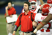 January 5th, 2008:  Rutgers offense coordinator John McNulty looks to the field as Ray Rice (27) is greeted after a 90 yard touchdown run during the third quarter of the International Bowl at the Rogers Centre in Toronto, Ontario Canada...Rutgers defeated Ball State 52-30.  ..Photo By:  Mike Janes Photography