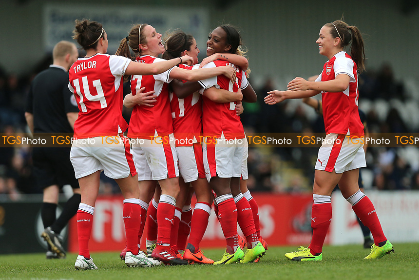 Arsenal Ladies celebrate their sixth goal during Arsenal Ladies vs Tottenham Hotspur Ladies, SSE Women's FA Cup Football at Meadow Park on 19th March 2017