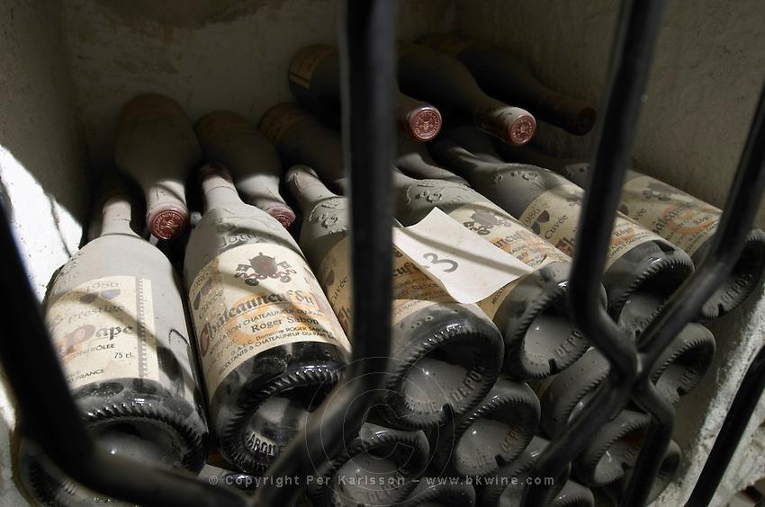old bottles in the cellar 1986 cuvee prestige domaine roger sabon chateauneuf du pape rhone france