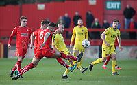 Alfreton Town's David Shiels and Fleetwood Town's Paddy Madden <br /> <br /> Photographer Rachel Holborn/CameraSport<br /> <br /> Emirates FA Cup First Round - Alfreton Town v Fleetwood Town - Sunday 11th November 2018 - North Street - Alfreton<br />  <br /> World Copyright &copy; 2018 CameraSport. All rights reserved. 43 Linden Ave. Countesthorpe. Leicester. England. LE8 5PG - Tel: +44 (0) 116 277 4147 - admin@camerasport.com - www.camerasport.com