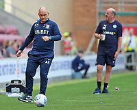 Preston North End manager Alex Neil rolls back the years on the touchline<br /> <br /> Photographer David Shipman/CameraSport<br /> <br /> The EFL Sky Bet Championship - Wigan Athletic v Preston North End - Monday 22nd April 2019 - DW Stadium - Wigan<br /> <br /> World Copyright © 2019 CameraSport. All rights reserved. 43 Linden Ave. Countesthorpe. Leicester. England. LE8 5PG - Tel: +44 (0) 116 277 4147 - admin@camerasport.com - www.camerasport.com