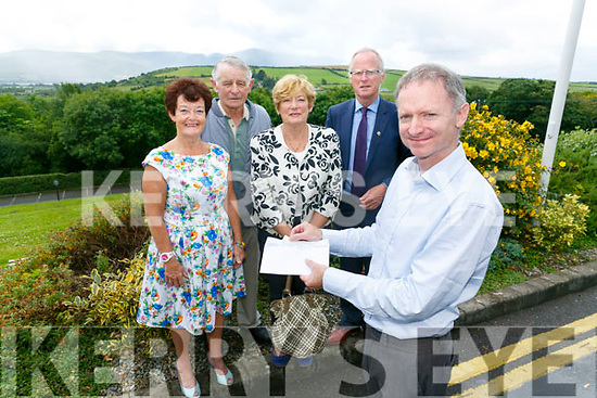 Tralee Lions Club President Brendan Kenny today distributed  €40,000 raised  at the 43rd Tralee Lions Club Annual Golf Classic was staged recently at Tralee Golf Club. among 14 charities to include, Carers Association, Tralee & West Kerry Branch of MS, Fenit Life Boat, Kerry Hospice, Ballyheigue Inshore Rescue, Pieta House Kerry, Kerry Friends of  Motor Neurone, Animal Help Net Kerry, Novas, Inspired, Kerry Information & Disability Services Team, Open Arms Kerry, Guide Dogs and finally Kerry Head/Ballyheigue Resourse Centre. Pictured with members  Joan O'Regan, George Groves, Eleanor Collins and Teddy Reynolds at Ballyroe Heights Hotel on Monday
