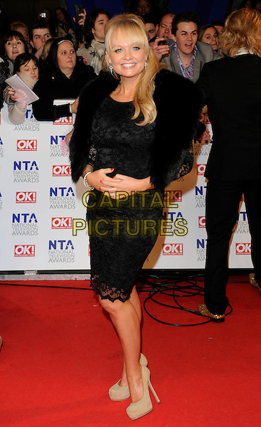 EMMA BUNTON.National Television Awards at the O2 Arena, London, England..January 26th 2011.arrivals NTA NTAs full length black dress lace beige shoes fur wrap.CAP/FIN.©Steve Finn/Capital Pictures.