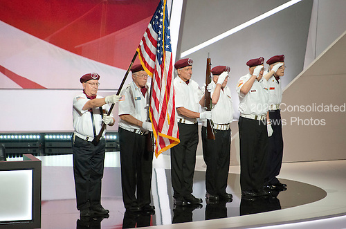 Cuyahoga County Veterans present the colors at the 2016 Republican National Convention held at the Quicken Loans Arena in Cleveland, Ohio on Monday, July 18, 2016.<br /> Credit: Ron Sachs / CNP<br /> (RESTRICTION: NO New York or New Jersey Newspapers or newspapers within a 75 mile radius of New York City)