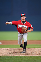 Carolina Mudcats relief pitcher Taylor Lewis (7) during a game against the Frederick Keys on June 4, 2016 at Nymeo Field at Harry Grove Stadium in Frederick, Maryland.  Frederick defeated Carolina 5-4 in eleven innings.  (Mike Janes/Four Seam Images)