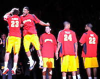 Maryland Terrapin players bump chest during player introduction at the Comcast Center in College Park, MD on Wednesday, March 3, 2010. Alan P. Santos/DC Sports Box