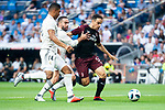 Real Madrid Caseiro and Dani Carvajal and A.C. Milan Giacomo Bonaventura during Santiago Bernabeu Trophy match at Santiago Bernabeu Stadium in Madrid, Spain. August 11, 2018. (ALTERPHOTOS/Borja B.Hojas)