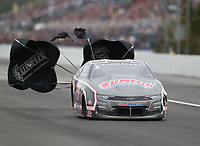 Mar 16, 2019; Gainesville, FL, USA; NHRA pro stock driver Jason Line during qualifying for the Gatornationals at Gainesville Raceway. Mandatory Credit: Mark J. Rebilas-USA TODAY Sports