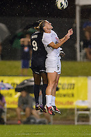 FC Kansas City midfielder Jen Buczkowski (6) goes up for a header with Sky Blue FC forward Danesha Adams (9). FC Kansas City defeated Sky Blue FC 1-0 during a National Women's Soccer League (NWSL) match at Yurcak Field in Piscataway, NJ, on July 28, 2013.