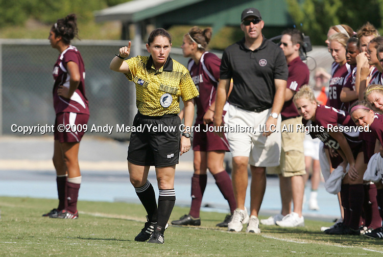 12 September 2009: Fourth official Sandra Serafini warns the North Carolina bench. The University of North Carolina Tar Heels defeated the Texas A&M University Aggies 2-0 at Fetzer Field in Chapel Hill, North Carolina in an NCAA Division I Women's college soccer game.