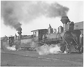 3/4 engineer's-side view of D&amp;RG #417 and #207 double-headed freight arriving Chama.<br /> D&amp;RG  Chama, NM  Taken by Jukes, Fred - 1908